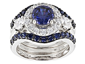 Pre-Owned Blue And White Cubic Zirconia Rhodium Over Silver Ring With Bands 5.43ctw