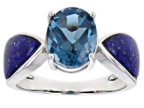 Pre-Owned Blue Topaz Rhodium Over Sterling Silver Ring 2.76ct