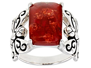 Pre-Owned Coral Rhodium Over Sterling Silver Dragonfly Ring