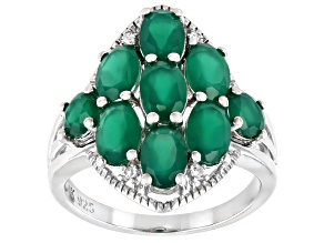 Pre-Owned Green Onyx Rhodium Over Sterling Silver Ring 2.88ctw