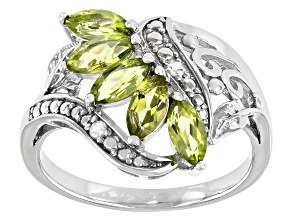 Pre-Owned Green Peridot Rhodium Over Sterling Silver Ring 1.03ctw