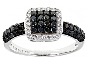 Pre-Owned Black Spinel  Rhodium Over Silver Band Ring 0.79ctw