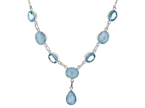 Pre-Owned Blue Larimar Sterling Silver Necklace 24.00ctw