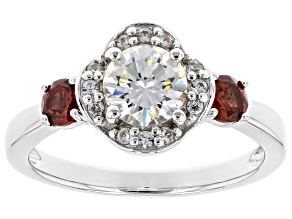 Pre-Owned Fabulite Strontium Titanate with red garnet & white zircon rhodium over silver ring 1.61ct