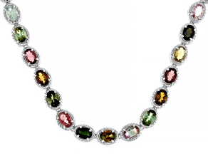 Pre-Owned Multi Color Tourmaline Rhodium Over Sterling Silver Necklace 20.00ctw