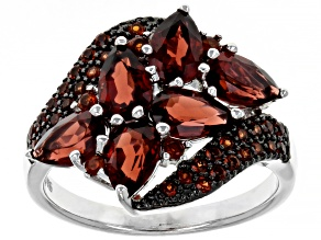 Pre-Owned Red Garnet Rhodium Over Sterling Silver Ring 3.01ctw