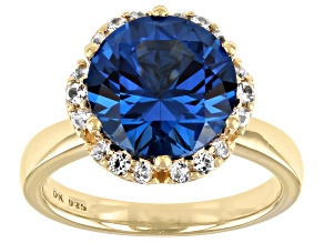 Pre-Owned Blue Lab Created Spinel 18K Yellow Gold Over Sterling Silver Ring 3.99ctw