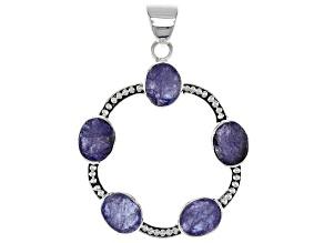 Pre-Owned Blue Tanzanite Rough Silver Pendant