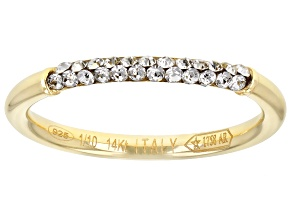 Pre-Owned Splendido Oro Divino™ 14K Yellow Gold with Sterling Silver Core Crystal Band Ring