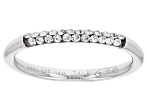 Pre-Owned Splendido Oro Divino™ 14K White Gold with Sterling Silver Core Crystal Band Ring