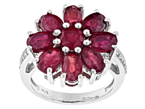 Pre-Owned Red Mahaleo® Ruby and White Zircon Rhodium Over Sterling Silver Flower Ring 5.59ctw