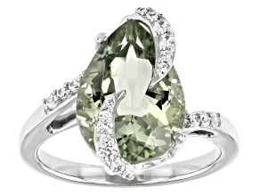 Pre-Owned Green Prasiolite Rhodium Over Sterling Silver Ring 4.23ctw