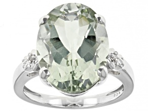 Pre-Owned Green Prasiolite Rhodium Over Sterling Silver Ring 7.83ct