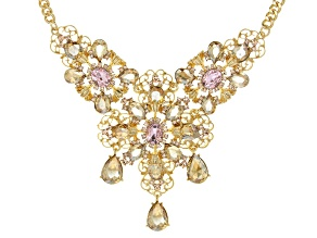 Pre-Owned Crystal Gold Tone Floral Necklace