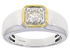 Pre-Owned Candlelight Moissanite Platineve And 14k Yellow Gold Over Platineve Two Tone Mens rRng 1.0