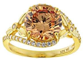 Pre-Owned Champagne And White Cubic Zirconia 18K Yellow Gold Over Sterling Silver Ring 7.01ctw