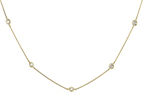 Pre-Owned White Zirconia From Swarovski ® 10k Yellow Gold Necklace 4.00ctw