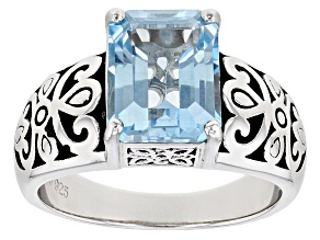 Pre-Owned Sky Blue Topaz Rhodium Over Sterling Silver Solitaire Ring 3.00ct