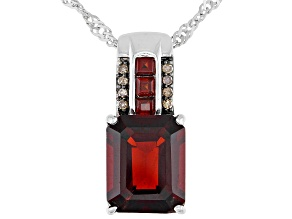 Pre-Owned Red Garnet Rhodium Over Sterling Silver Pendant With Chain 3.61ctw