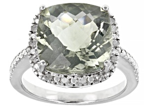 Pre-Owned Green Prasiolite Rhodium Over Sterling Silver Ring 6.50ctw