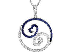 Pre-Owned White Cubic Zirconia & Blue Lab Sapphire Rhodium Over Sterling Silver Pendant 1.50ctw