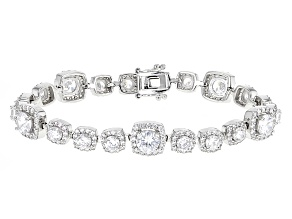 Pre-Owned White Cubic Zirconia Rhodium Over Sterling Silver Bracelet 20.00ctw
