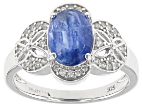 Pre-Owned Blue Kyanite Rhodium Over Sterling Silver Ring. 2.21ctw