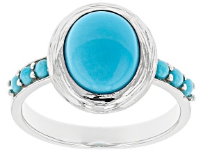 Pre-Owned Oval and Round Sleeping Beauty Turquoise Rhodium Over Silver Ring