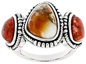 Pre-Owned Spiny Oyster Shell and Coral Rhodium Over Sterling Silver Ring