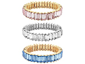 Pre-Owned Gold Tone Multi-color Crystal Set of three stretch bracelet