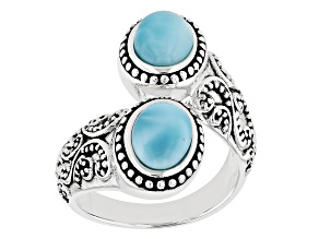 Pre-Owned Blue Larimar Rhodium Over Sterling Silver Bypass Ring