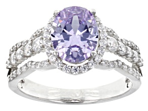 Pre-Owned Lavender And White Cubic Zirconia Rhodium Over Sterling Silver Ring  4.28ctw