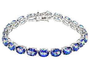 Pre-Owned Blue Petalite Rhodium Over Silver Bracelet 18.51ctw