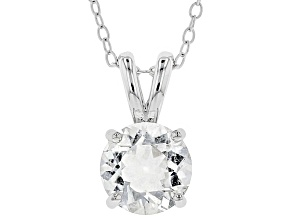 Pre-Owned White Crystal Quartz Rhodium Over Sterling Silver Pendant With Chain 1.53ct