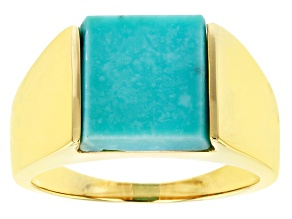 Pre-Owned  Blue Inlay Kingman Turquoise 18k Yellow Gold Over Silver Mens Ring 12x12mm