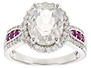 Pre-Owned White Crystal Quartz Rhodium Over Sterling Silver Ring 3.85ctw