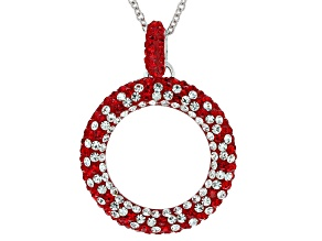 Pre-Owned Preciosa Crystal Red And White Crystal Circle Necklace
