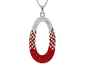 Pre-Owned Preciosa Crystal Red And White Oval Necklace