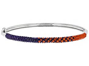 Pre-Owned Preciosa Crystal Orange And Purple Thin Bangle Bracelet