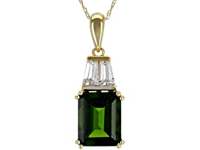 Pre-Owned Green Chrome Diopside 10k Yellow Gold Pendant With Chain 3.40ctw