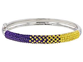 Pre-Owned Preciosa Crystal Purple And Gold Bangle Bracelet