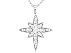 Pre-Owned White Cubic Zirconia Rhodium Over Sterling Silver Star Pendant With Chain 4.07ctw
