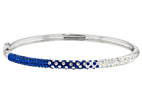 Pre-Owned Crystal Blue And White Thin Bangle Bracelet