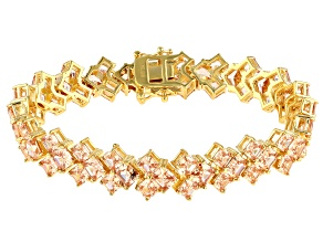 Pre-Owned Brown Cubic Zirconia 18K Yellow Gold Over Sterling Silver Bracelet 46.05ctw (32ctw DEW)