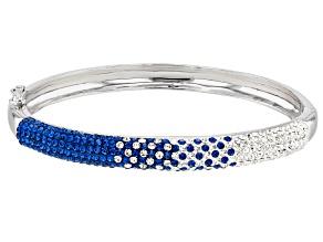 Pre-Owned Preciosa Crystal Blue And White Bangle Bracelet
