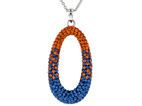 Pre-Owned Preciosa Crystal Blue And Orange Oval Pendant With Chain
