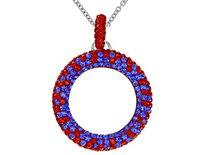 Pre-Owned Preciosa Crystal Red And Blue Circle Pendant With Chain
