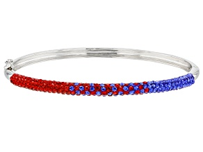 Pre-Owned Preciosa Crystal Red And Blue Bangle Bracelet