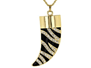 "Pre-Owned White Crystal With Black Enamel Gold Tone ""Zebra Print"" Horn Pendant W/ Chain"
