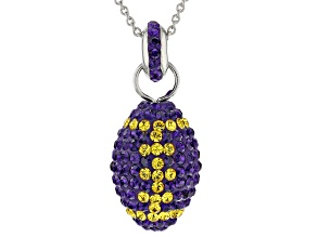 Pre-Owned Preciosa Crystal Purple And Gold Football Pendant With Chain